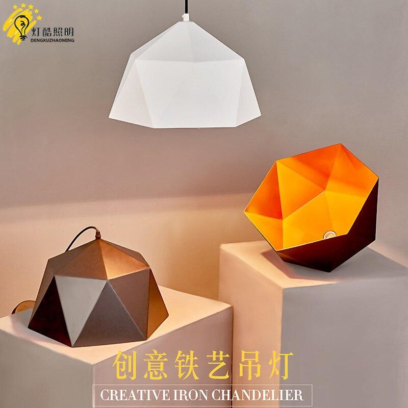 head geometry pot droplight cafe restaurant Industrial wind restoring ancient ways, wrought iron diamond pendant lamp