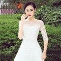 Alta qualidade Branco 2016 Tulle com Apliques Bead Tanque Nupcial Wedding Bolero Jacket Casamento Do Laço Shrug Cape Shawl New Arrival
