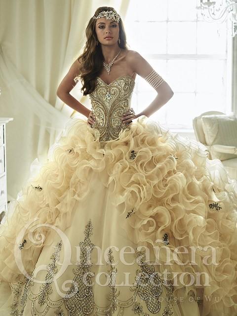 Romântico 2017 champagne querida quinceanera vestidos ruffles organza bead vestido de baile vestido de festa sweet 16 vestido qx79