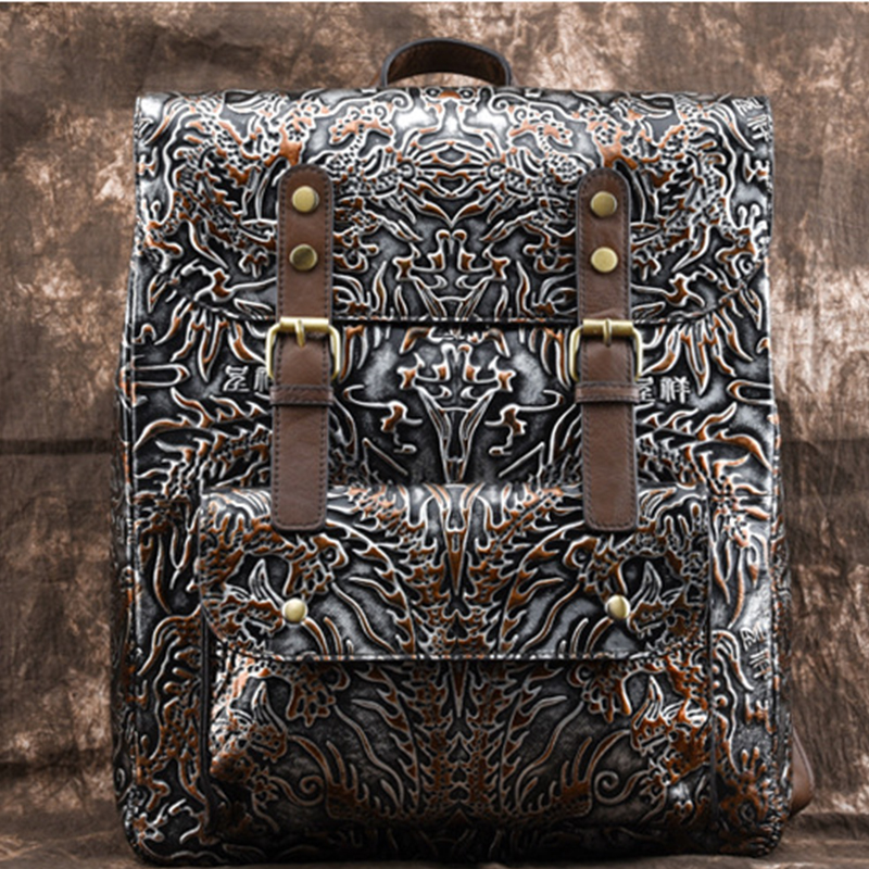 Genuine Embossed Leather Women Rucksack Travel Daypack First Layer Cowhide Knapsack Large Capacity Book Bag Computer Backpack new arrival female embossed leather backpack oil wax cowhide genuine leather women vintage rucksack brand girls book bag daypack