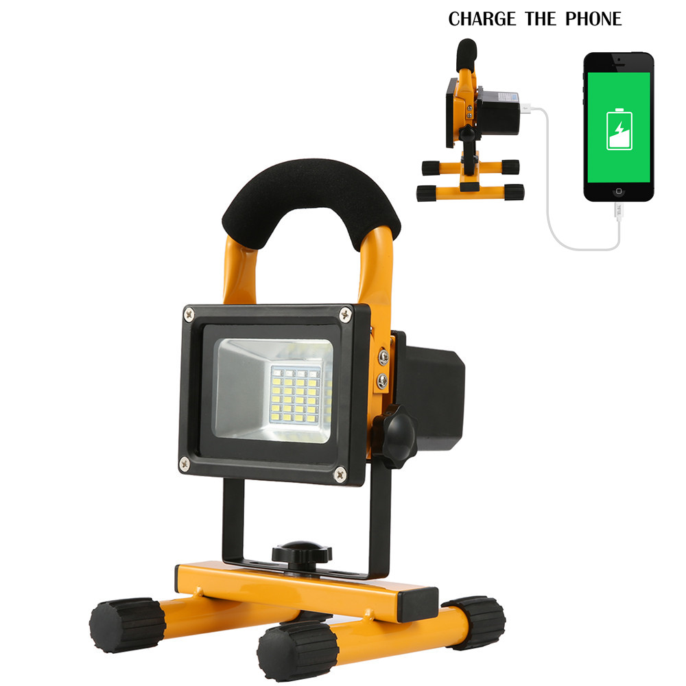 Brand New 30W 24LEDs Floodlight Spotlight with Built-in Rechargeable Lithium Batteries and USB Port to Charge Mobile Devices