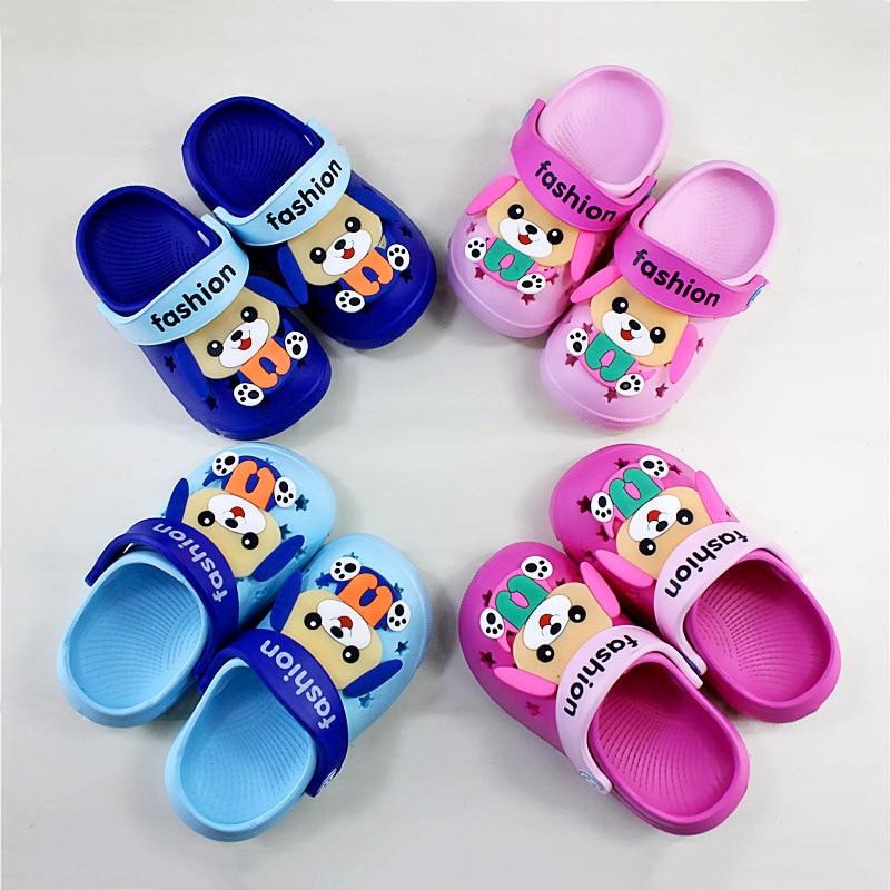 2019 Summer Children's Shoes Baby Slippers Cartoon Dog Indoor Anti-skid Boys And Girls Baby Rabbit Slippers Children Beach Shoes
