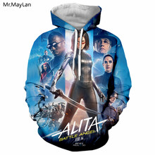 Harajuku Movie Alita: Battle Angel 3D Print Jacket Women/men Hip Hop Streetwear Hoodie Girl Blue Sweatshirt 2019 Spring Clothes
