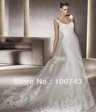 free shipping 2013 new style hot sale Sexy bride high quality sweet princess trail Custom size good lace embroidery wedding gown цена