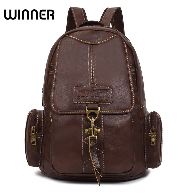 Winner Brand Designers Brown Woman Backpack Fashion PU Leather College Student School backpack Bags Vintage Ladies Rucksack 2017 fashion women waterproof oxford backpack famous designers brand shoulder bag leisure backpack for girl and college student