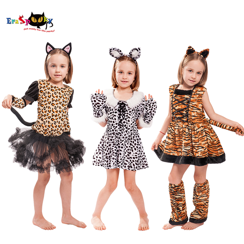 Eraspooky Cute Cartoon Animal Cosplay Girls Tiger Leopard Dress Halloween Costume For Kids Christmas Carnival Outfit Headband