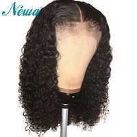 Newa Hair Silk Base Lace Front Human Hair Wigs Pre Plucked With Baby Hair Curly Brazilian Remy Hair 4.5inch Silk Base Top Wigs