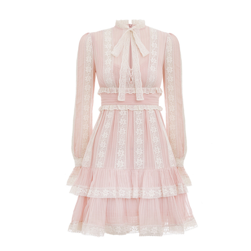 Goodlishowsi 2019 Boho doux femmes Mini balançoire robe solide dentelle Patchwork plissé a-ligne col en v manches évasées nœud à lacets S-L