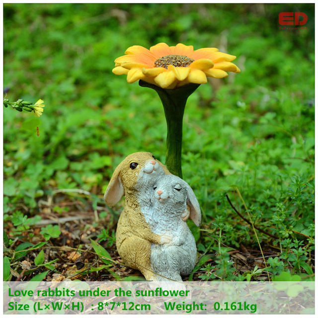 Everyday Collection Easter Decor Garden Rabbit Bunny Statue Sculpture  Lovers Rabbit Uner The Sunflower Wedding Gifts