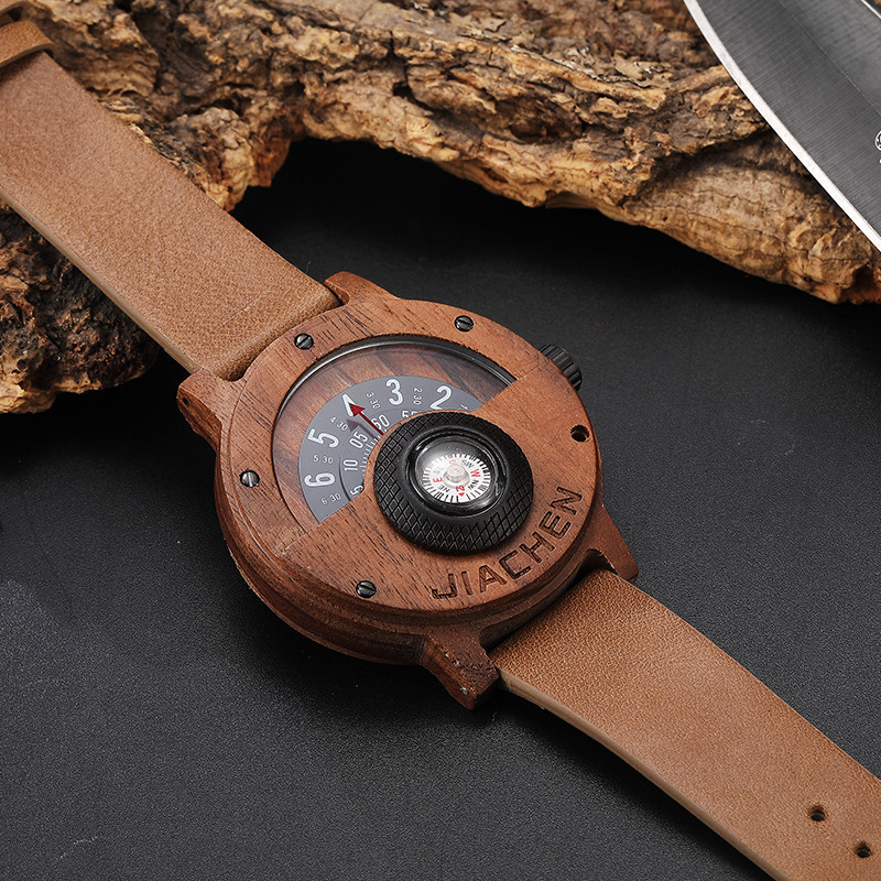 HTB1YM0qc8gXBuNjt hNq6yEiFXaO Creative Mens Walnut Wood Watch Male Wooden Leather Real Natural Rosewood Men Wrist Watch Men's Compass Turntable Wristwatch