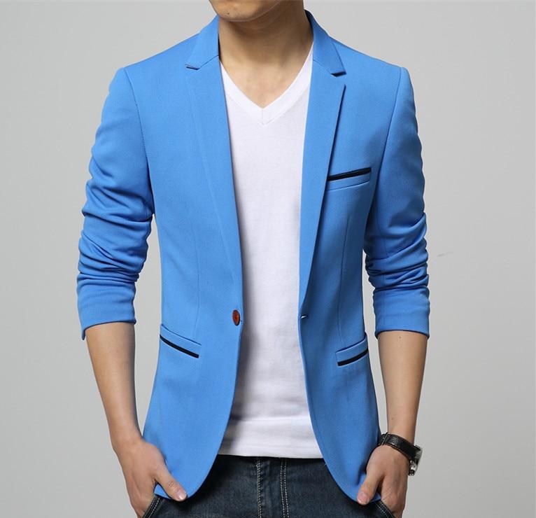 2019 Fashion Party Mens Slim Fit Cotton Blazer Suit Jacket Black Blue Beige Plus Size L-6XL Male Blazers Mens Coat Wedding Dress