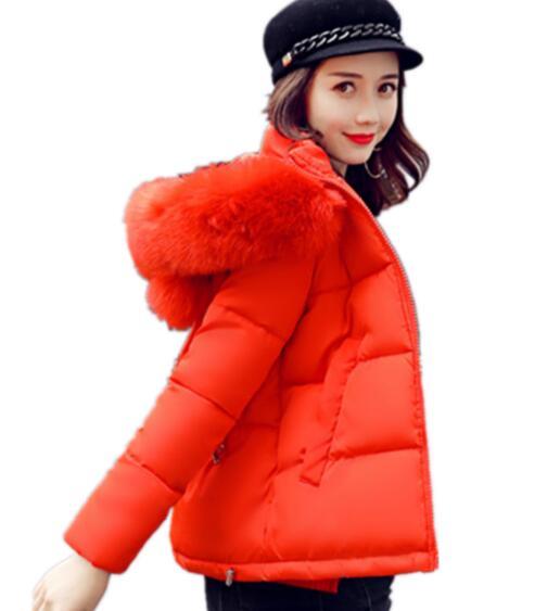 2018 осенние и зимние модные повседневные короткие Хлопчатобумажная Куртка с капюшоном теплый толстый большой женский размер