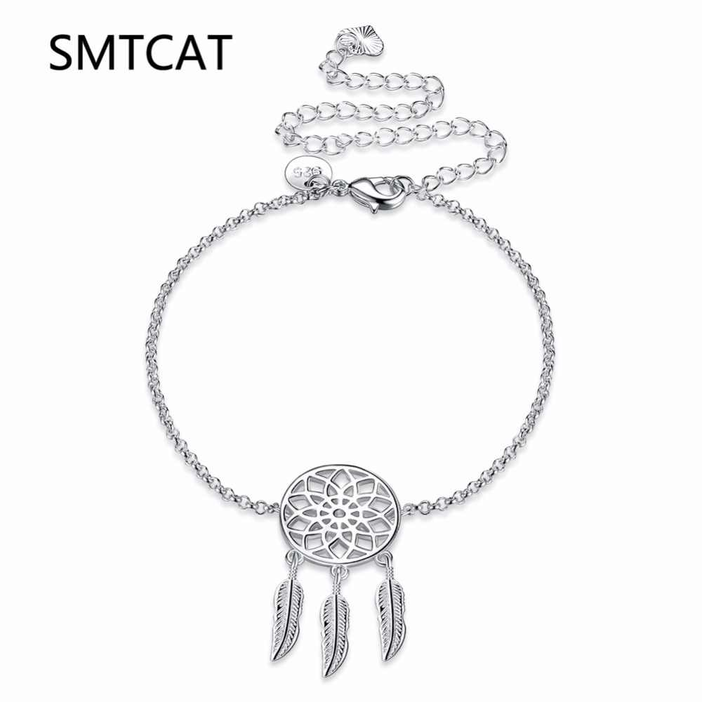 SMTCAT Dream Catcher Feather Tassels Anklet Bracelet 925 True Silver Color Women Girl Lover Barefoot Fashion Foot Jewelry