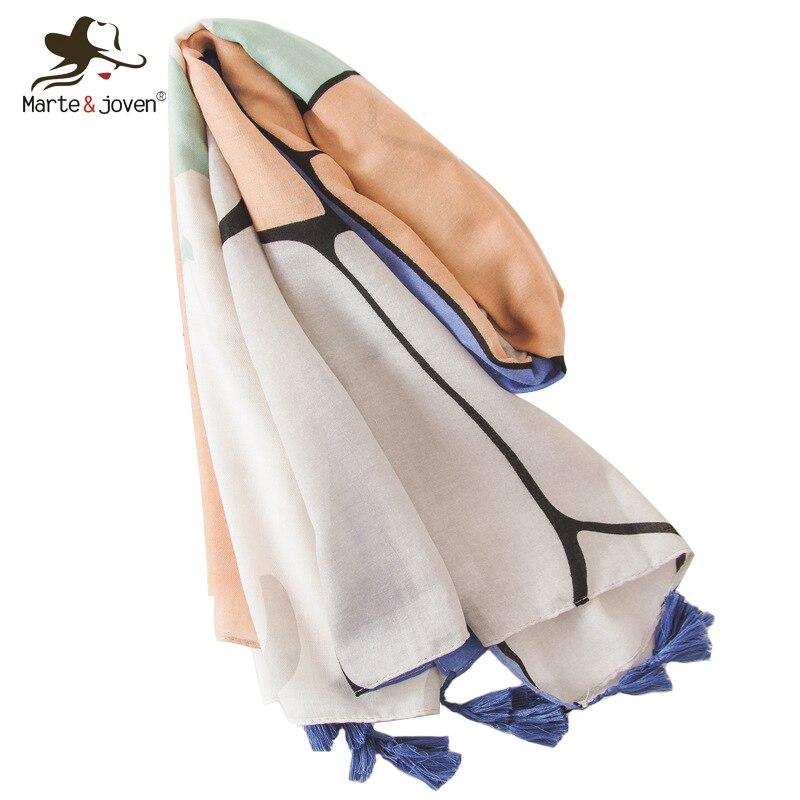 Marte&Joven Women Elegant Art Print Tassels Beige   Scarf     Wraps   Fashion Autumn Winter Warm Long   Scarves   Pashmina Ladies Big Hijab