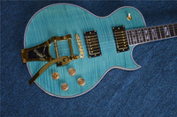 New standard Rosewood Fingerboard LP standard custom electric guitar with Flame Maple Top JAZZ electric guitar, blue color,