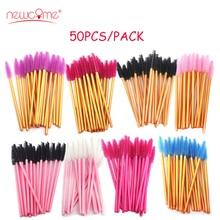 NEWCOME 50Pcs/pack High Quality Disposable Eyelash Brush Mascara Wands Applicator Extension Comb Brushes Makeup Tool Kit