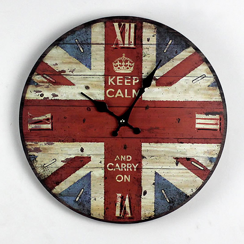 2015 limited new arrive zakka nostalgic style british flag painted wood wall clock round electronic clocks for home decoration in wall clocks from home - Painted Wood Home 2015