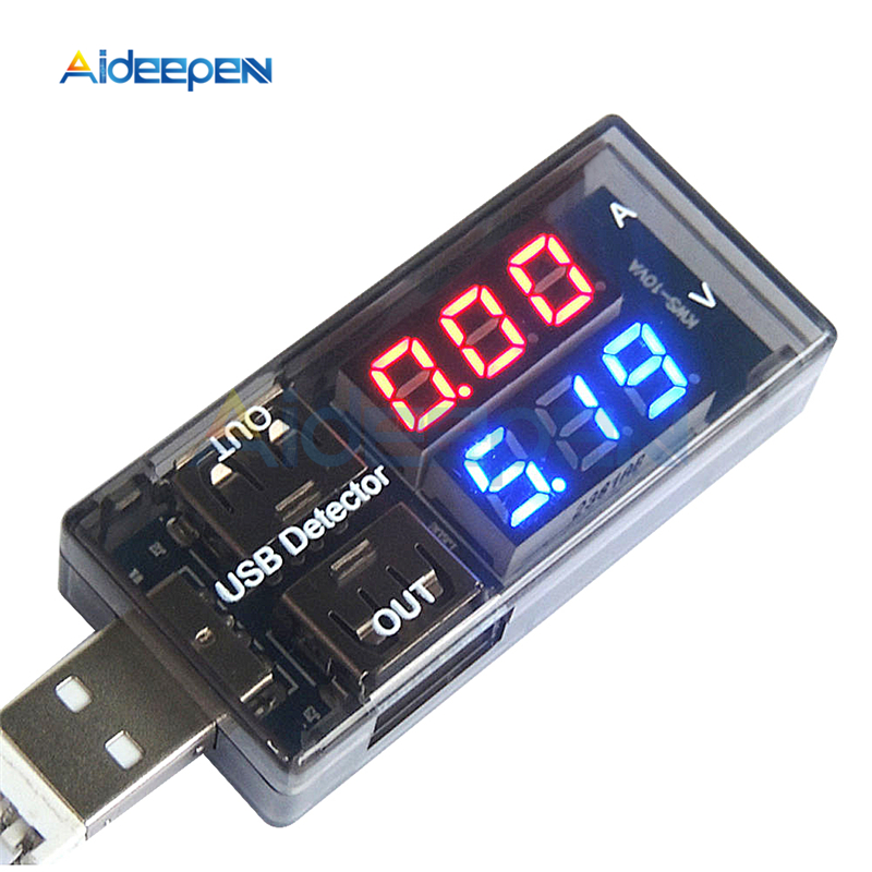 Red+Blue Dual Output USB Current Voltage Charging Detector Tester Battery Voltmeter Ammeter Charger Doctor DC 3-7.5V 0-2.5A