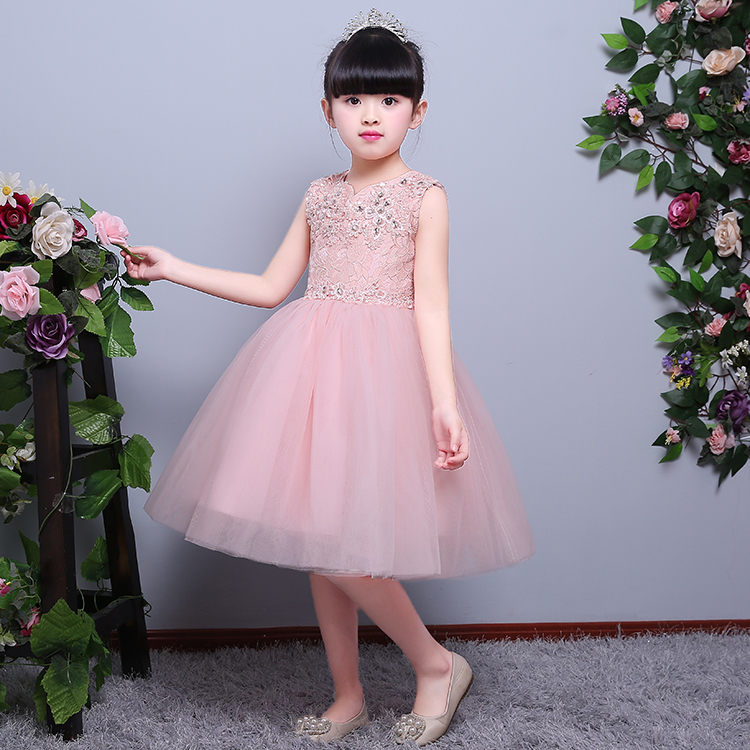 Five Colors Lace Embroidery Appliques Knee Length Ball Gown Summer 2017 New Fashion Prom Party Wedding Flower Girls Dress P16 new arrival fashion summer girls kids sleeveless flower dress elegant sweet children girls knee length ball gown dress