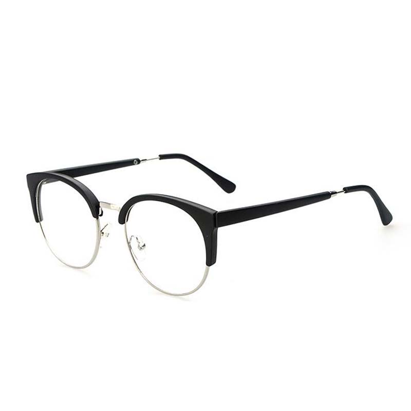 Half frame metal rim fashion cat eye glasses male and female models ...