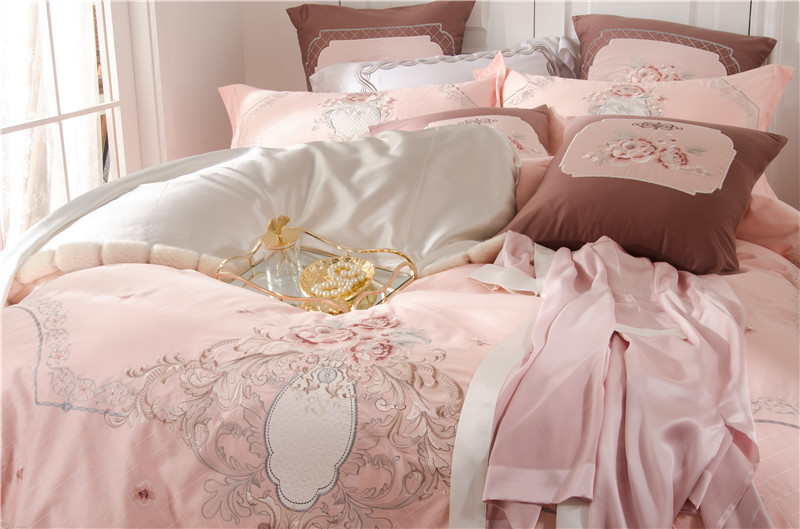 100/% Egyptian Cotton Pink Duvet cover Bedding Set fitted sheet /& pillow cases