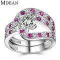 MDEAN 925 sólido anel de prata esterlina CZ diamante anéis de noivado para as mulheres de jóias de casamento cor de rosa de prata mulheres anéis rosa MSR485