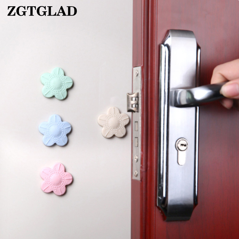 ZGTGLAD 1pcs Self Adhesive Silicone Door Knob Crash Pad Wall Protectors Cherry Blossoms Shape Wall Stickers for Kids Rooms