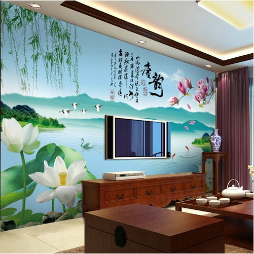 Modern Chinese 3D Wallpaper Mural Lotus Background Video Wall Covering Tang Yun Living Room