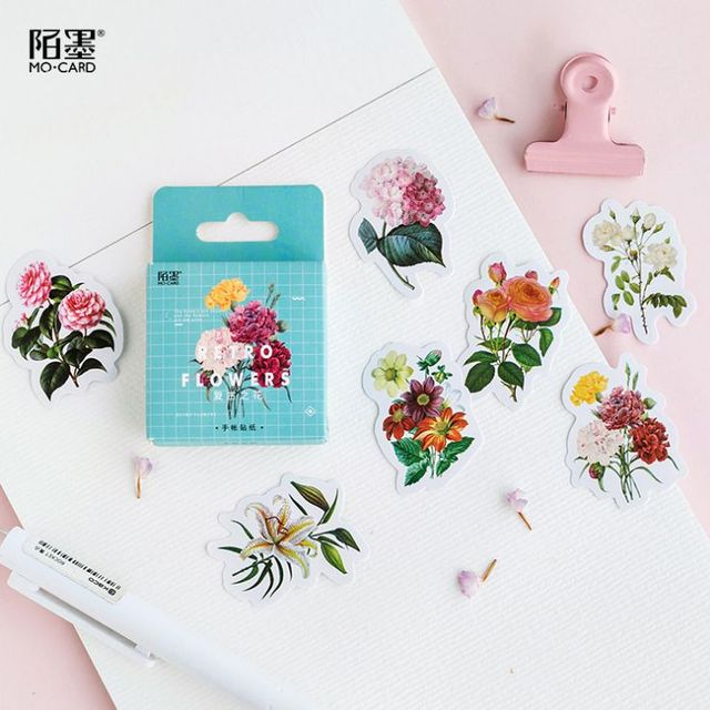 46 unids/lote Retro flores pintura Mini etiqueta engomada de papel de decoración DIY tu álbum diario Scrapbooking bala revista pegatinas