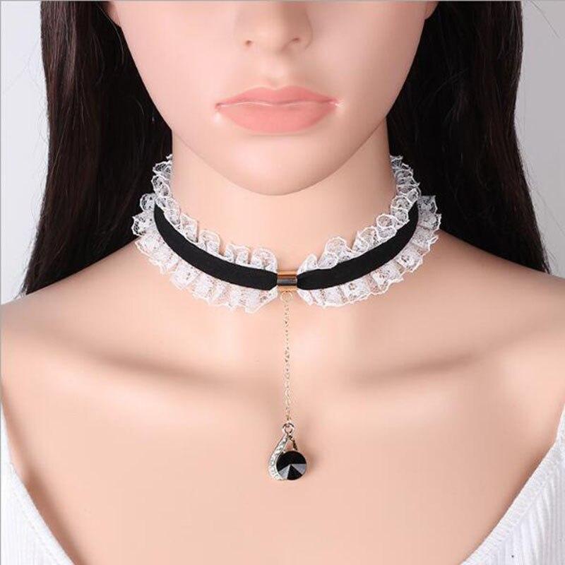 New 3 Pcs//Set Cute Lace Choker Necklace For Women Alloy Chian Chocker Necklaces