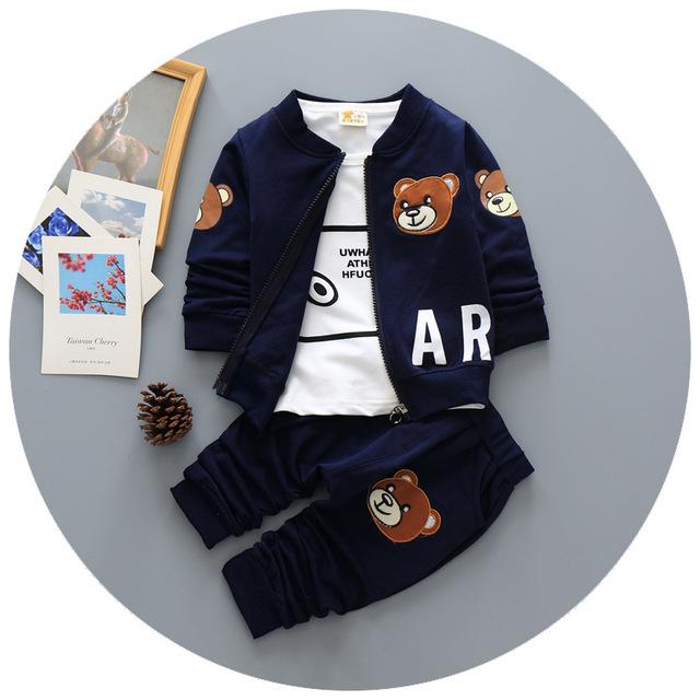 Nueva Primavera/otoño Ropa de Bebé Niño Conjunto Deportes Del Muchacho Traje Determinado del bebé Encantador Patrón Trajes Ropa Casual Camiseta + coat + pants