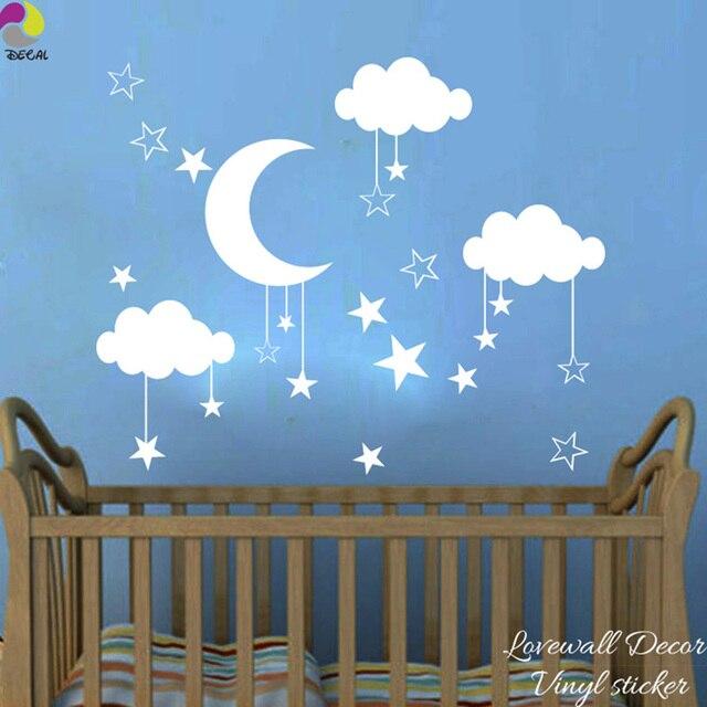 Baby Kindergarten Mond Stern Wolke Wandaufkleber Kinderzimmer Natur ...