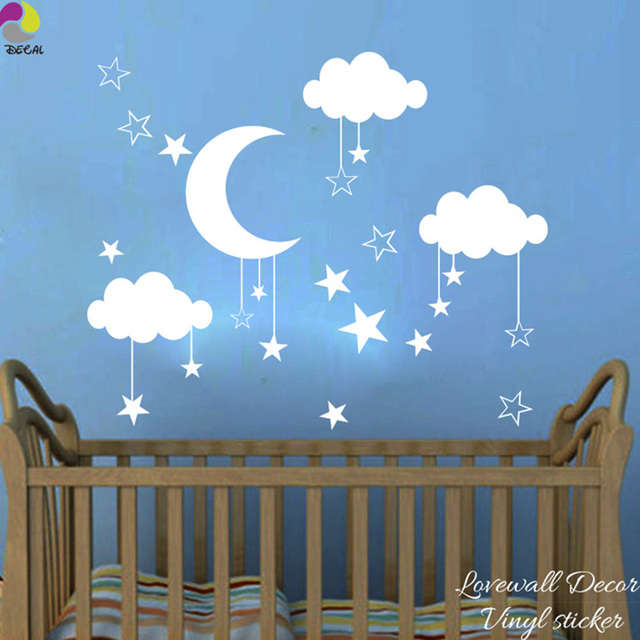 Baby Nursery Moon Star Cloud Wall Sticker Kids Room Nature Space Wall Decal  Child Room Bedroom