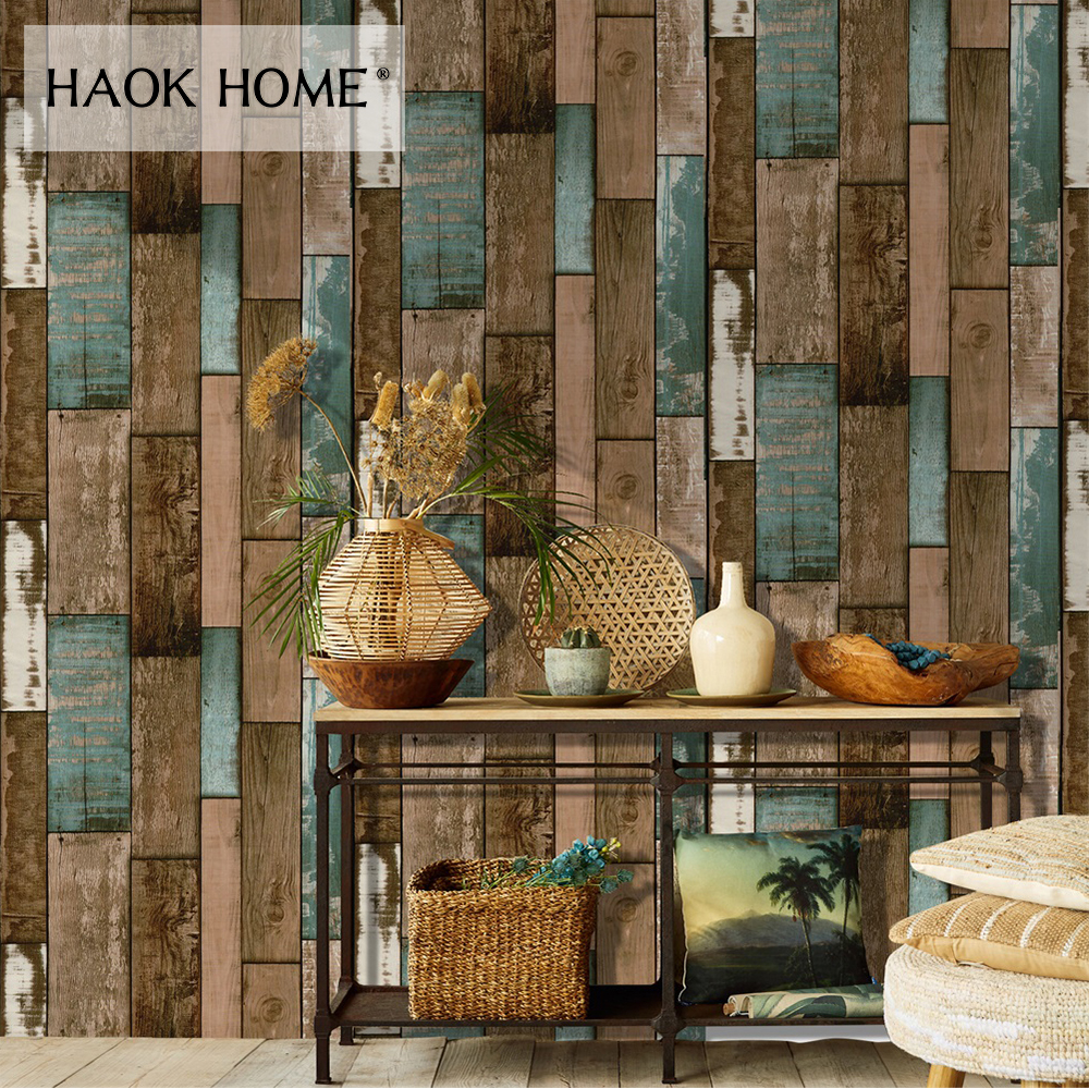 купить HaokHome Vintage 3d Wood Grain Vinyl Wallpaper Rolls Tan/Brown/Grey Wooden Plank Mural Home Living Room Kitchen Bathroom Decor по цене 2033.13 рублей