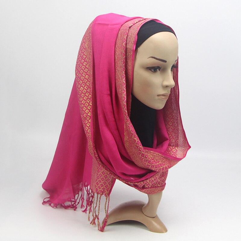 Women Plain Chiffon Muslim Hijab   Scarf     Wrap   Solid Color Shawls Headband Muslim Hijabs   Scarves   Islamic Shawl Cap Head Cover