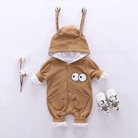Для новорожденных Осень и зима новый серый мода одежда для малышей новый свитер с длинным рукавом Хлопок Baby One-Piece Одежда для маленького маль...