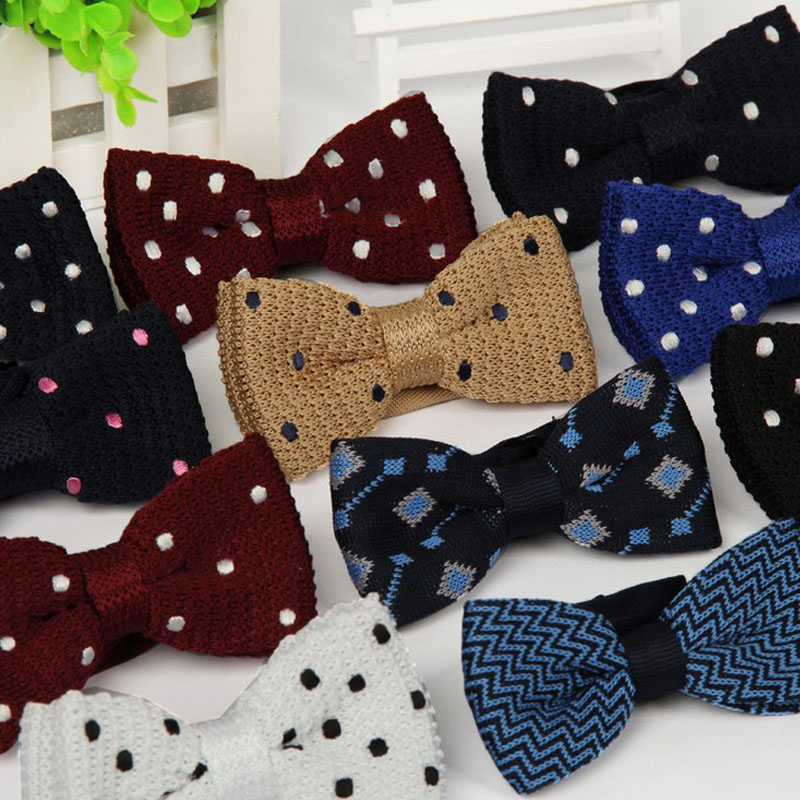 New Men Knitted Bowtie Bow Tie Pre-Tied Adjustable Tuxedo dots Bow ties 2014 Male Spring ties