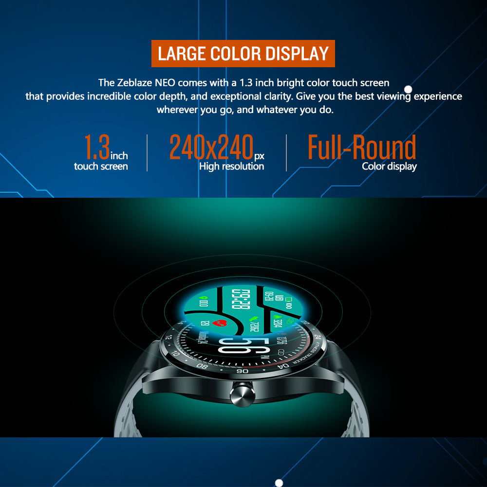 Image 3 - New Zeblaze NEO Series Color Touch Display Smartwatch Heart Rate Blood Pressure Female health CountDown Call rejection WR IP67-in Smart Watches from Consumer Electronics