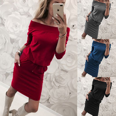 spring and autumn high street pencil woman dresses fashion and sexy solid long sleeve off shoulder neckline female dresses