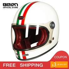 BEON Helmet Full face glass fiber Motocross Vintage casque  Motorcycle Helmets Retro Motorcycle Accessories ECE free shipping fashion brand torc vintage motorcycle helmets matte black captain america goggles retro vintage style ece