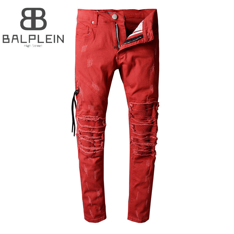 Red Color High Street Fashion Mens Jeans Motor Biker Jeans Men Balplein Brand Destroyed Ripped Jeans Punk Style Denim Pants купить