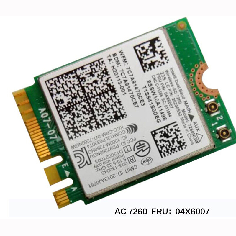 Prix pour Intel Double Bande Sans Fil-AC 7260 WiFi + BT 4.0 Combo carte Pour Lenovo Thinkpad Y40 Y50 X240 T440 Série, FRU 04X6007 20200552