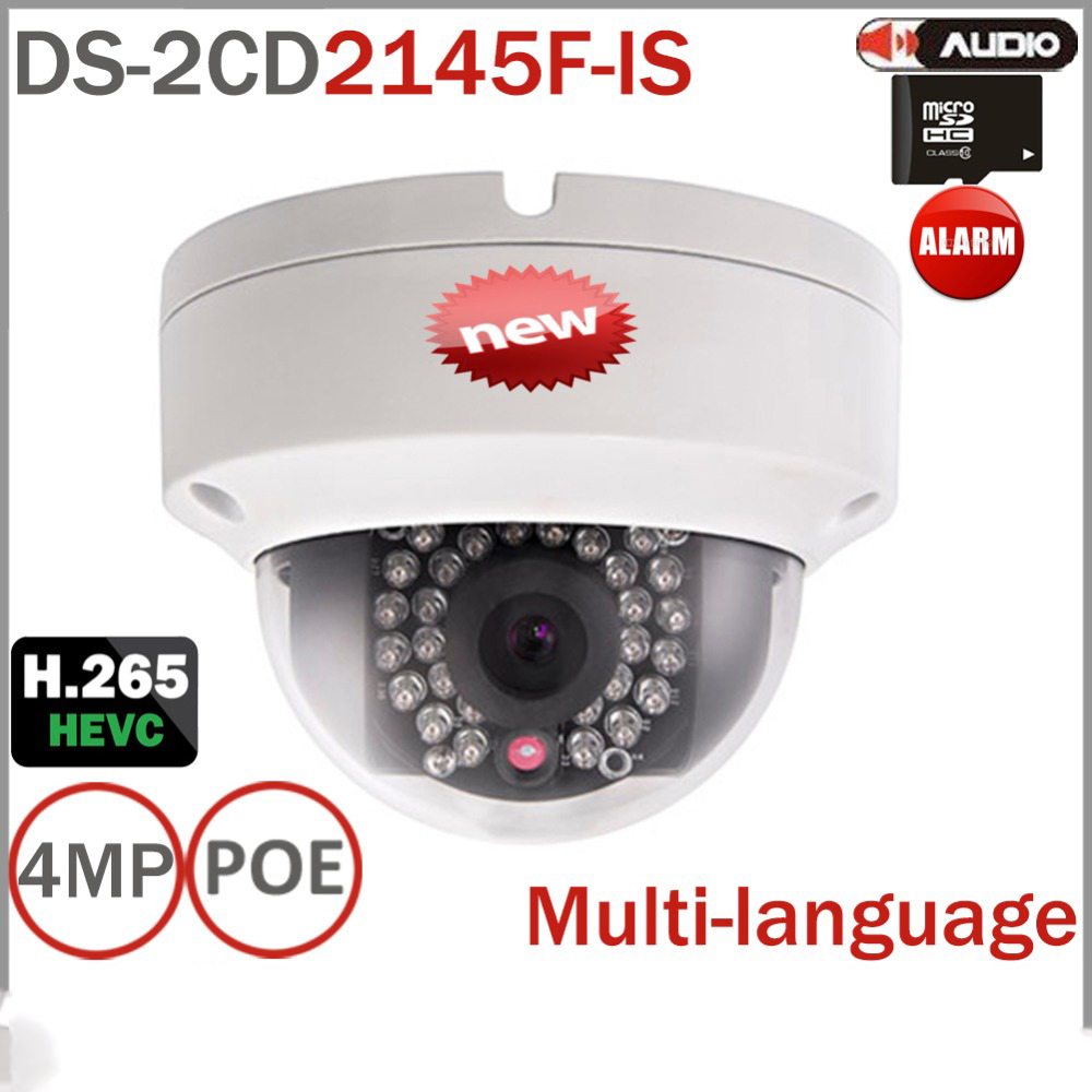 DS-2CD2145F-IS  New 4MP Security IP Camera  Support Onvif PoE Cam 1080P Full HD Dual video streams