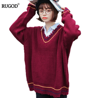 RUGOD Fashion Solid Cashmere Sweater Long Sleeve Loose Women Sweaters And Pullovers Casual V-neck Autumn Women Sweaters