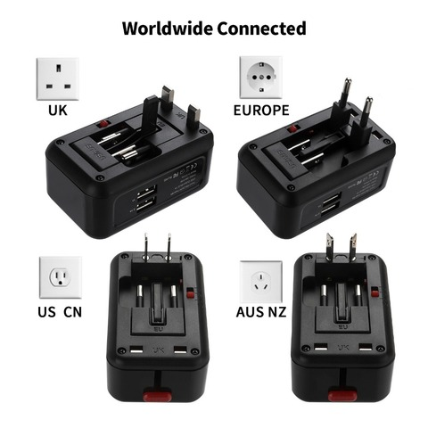 Vogek Wall USB Charger Adapter US/AU/UK/EU Plug Smart-Timing Charging Sockets Converter with Dual USB Charger 2.1A LED Indicator Lahore
