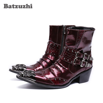 Batzuzhi Punk Style Genuine Leather Boots Men Iron Toe Zip Mens Military Cowboy Boots High Top Buckles Botas Hombre, Big Size 46
