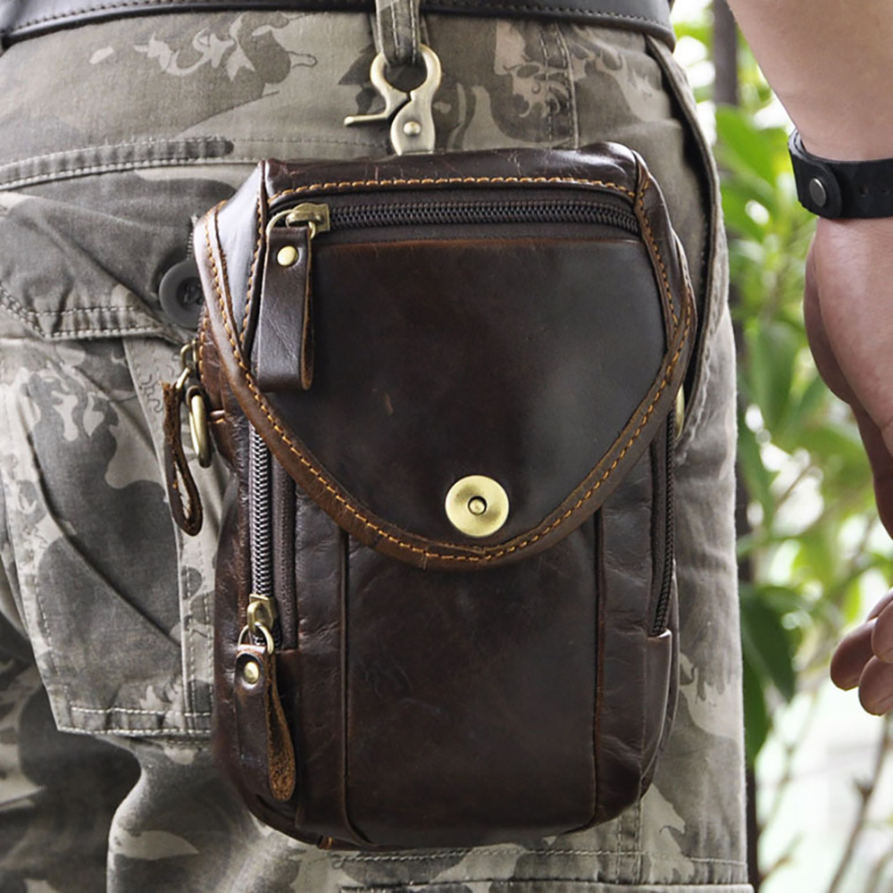9c01b70712fe Oil Wax Leather Cowhide Hook Fanny Waist Bag Vintage Men Hip Bum Belt Pack  Camera Case Genuine Leather Cell Mobile Phone Bags-in Waist Packs from  Luggage   ...