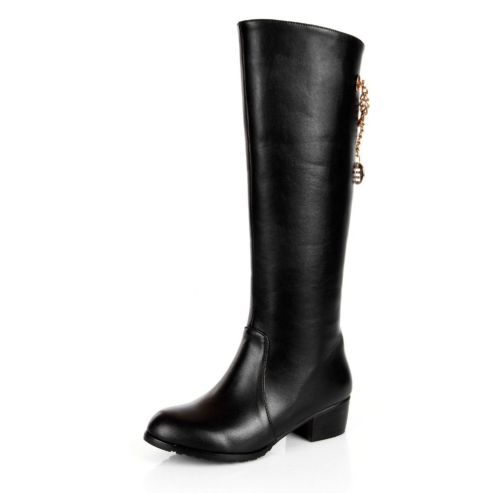 New Popular Women Knee High Boots Cool Round Toe Square Heels Boots Nice Black Shoes Woman US Size 3.5-13 юбка cool woman square qz601 2015