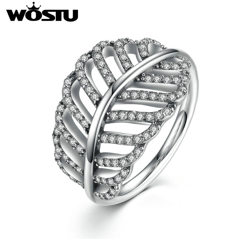WOSTU 925 Silver Hot Sale Clear CZ Pave Light Feather Kvinnlig Ring Vintage Kompatibel med WST Fashion Smycken Present ZBB7205