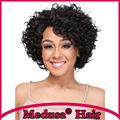 Medusa hair products: African american Synthetic pastel wigs Medium length curly shag style black Afro lace front wig SW0447